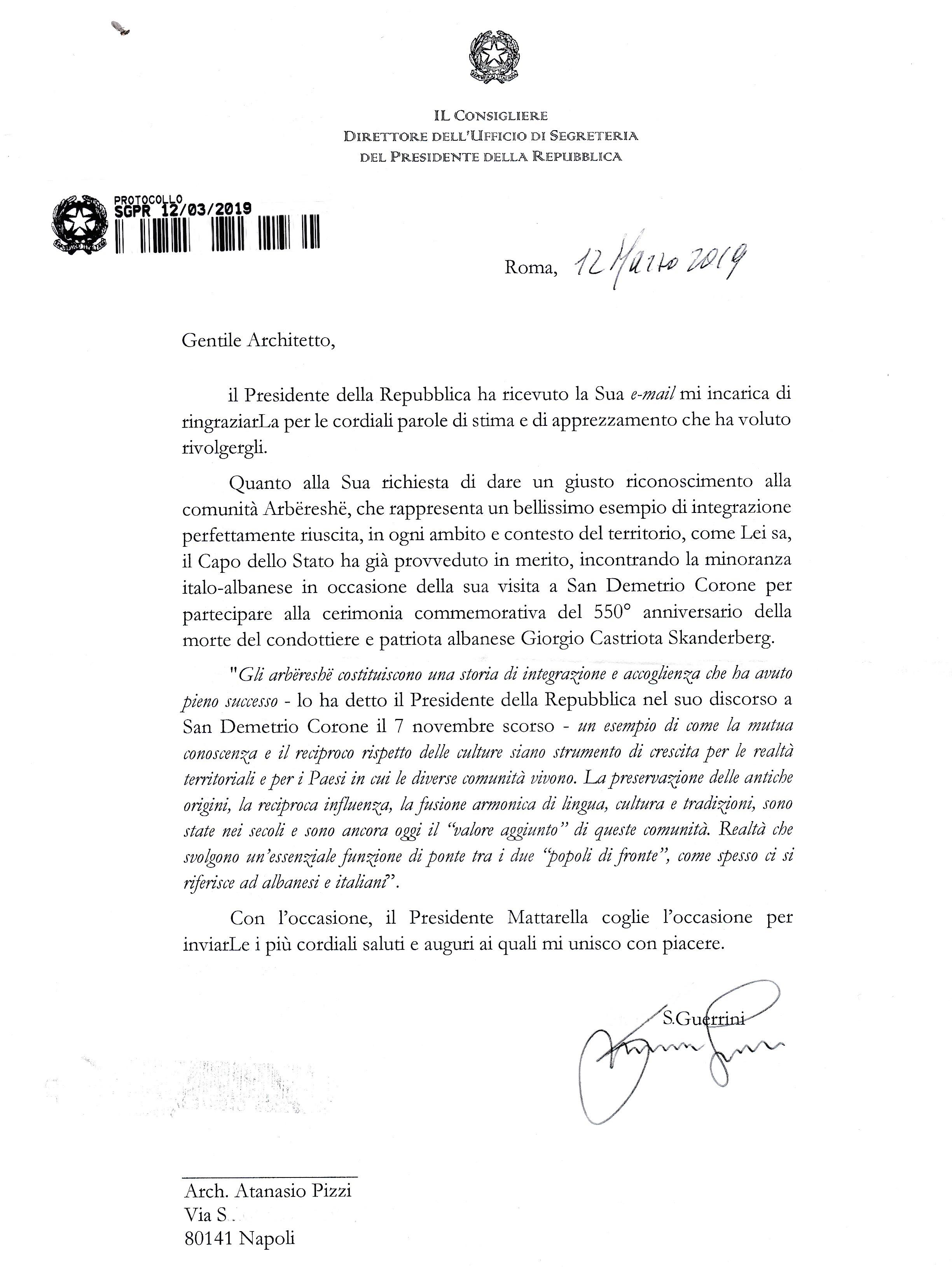 LA RISPOSTA DEL PRESIDENTE DELLA REPUBBLICA ITALIANA, ONOREVOLE SERGIO MATTARELLA,  A QUESTA MIA LETTERA